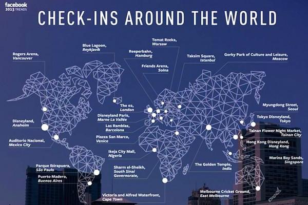 Facebook:2013年最受欢迎的25大签到地