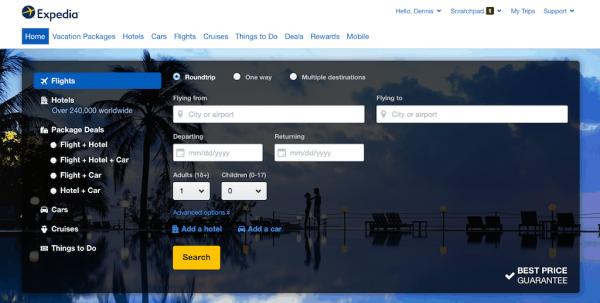 Expedia:追随移动化,重新设计简洁网页