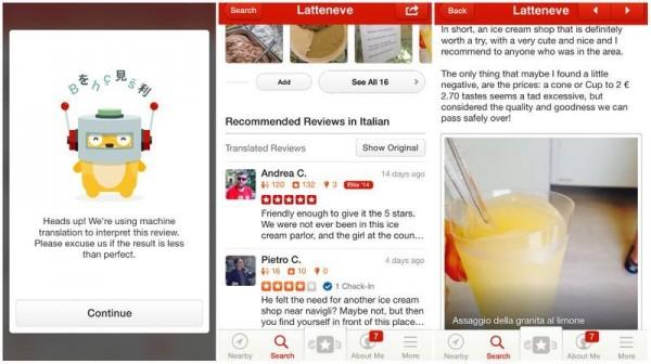 Yelp:逆袭自由行市场,一键翻译用户点评