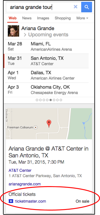 谷歌:搜索整合票务信息 可直接购买演出门票