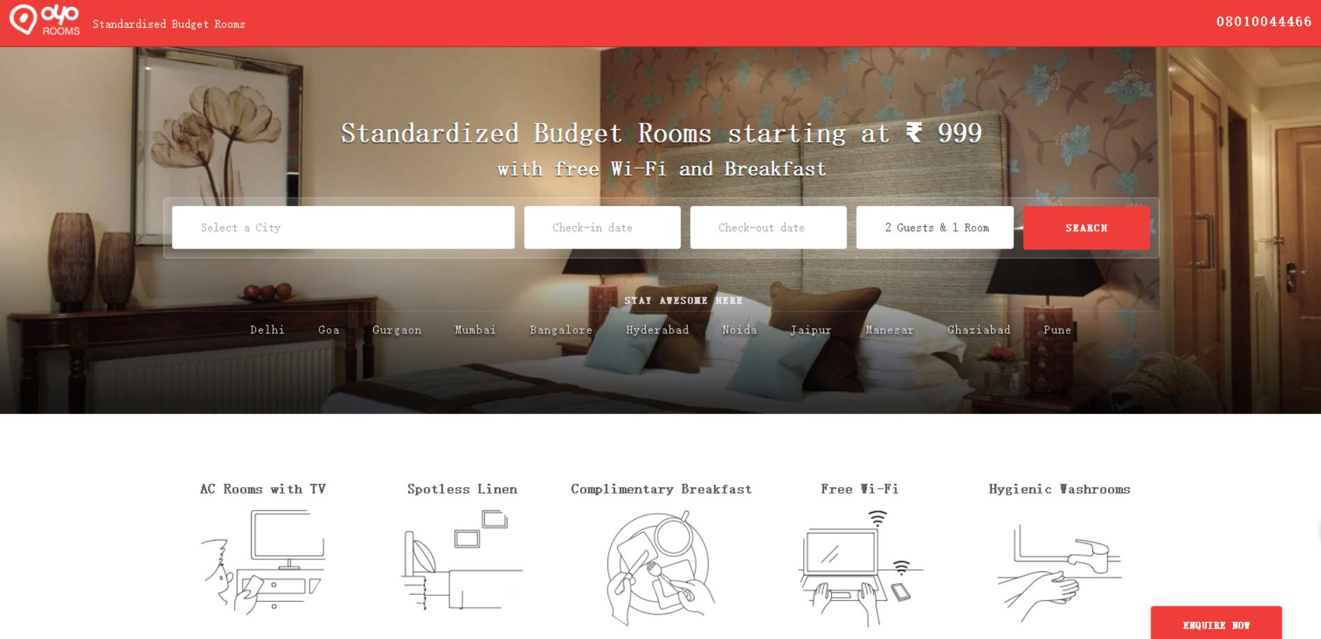Oyo Rooms:虚拟酒店平台获2000万美元融资