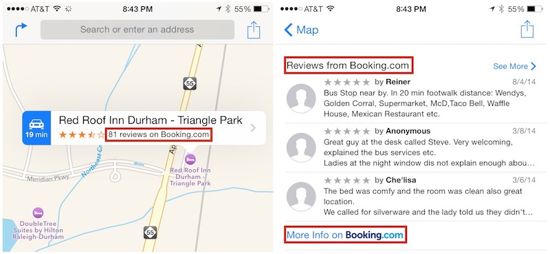 Booking.com:登陆苹果地图 呈现酒店点评