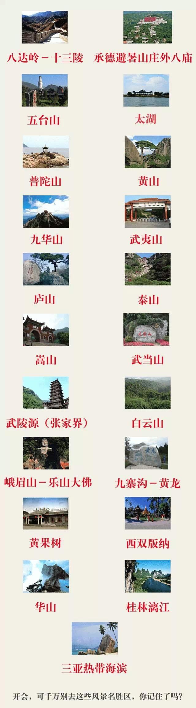 中纪委:开会不允许去这21个风景名胜区!