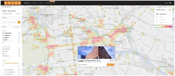 Kayak:模仿Hipmunk使用酒店热点地图搜索