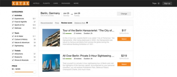 Kayak:旅游搜索引擎转变思路 增加线路和活动