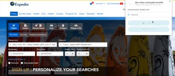 30K:推出旅游网站查询积分里程的浏览器插件