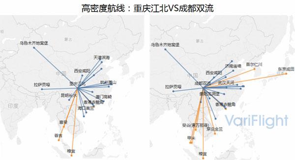 国内高密度航线中,重庆江北海口美兰日均往返航班量16班次,而成都双流