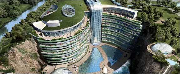 深坑中的五星级酒店即将完工 明年5月试运营