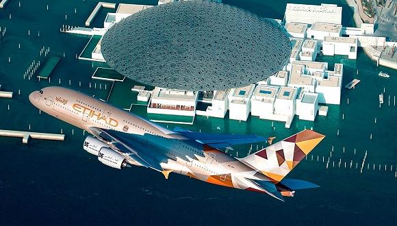 阿布扎比卢浮宫开业:A380飞跃博物馆助兴