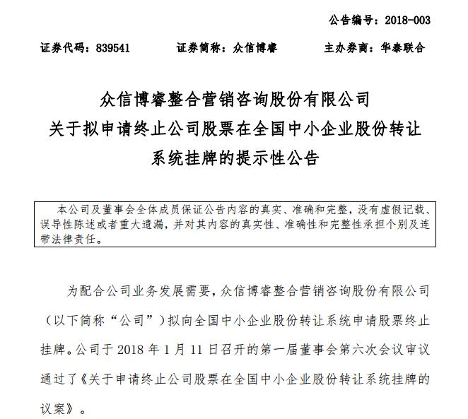 众信旅游:子公司众信博睿终止挂牌新三板