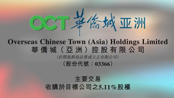 华侨城(亚洲):拟11.76亿元收购同程5.11%股份