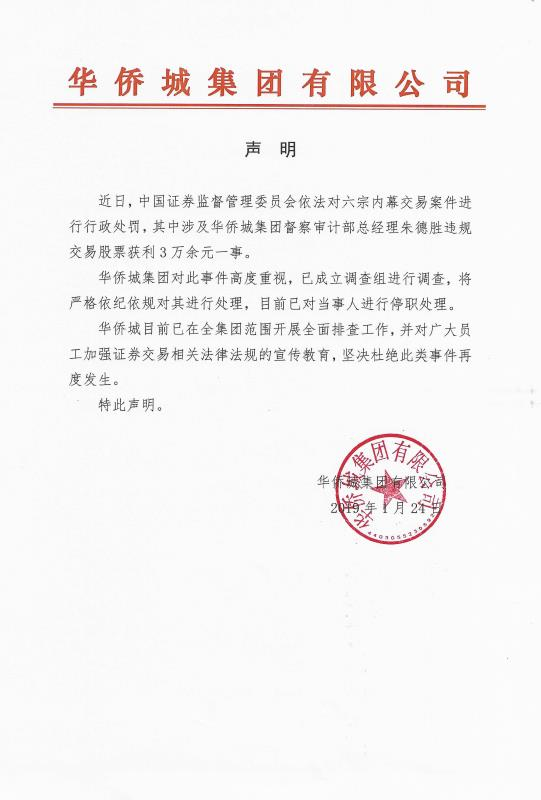 华侨城集团:遭证监会处罚,发内部处理声明