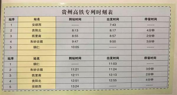 贵州:首条景区高铁直达列车 助力全域旅游