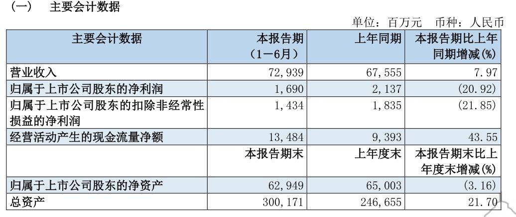 南航:上半年营收729.39亿元 净利润降20.92%