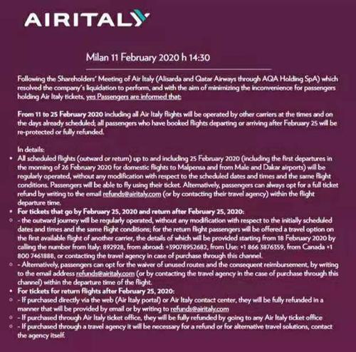 Air Italy:意大利第二大航司宣布进入破产清算