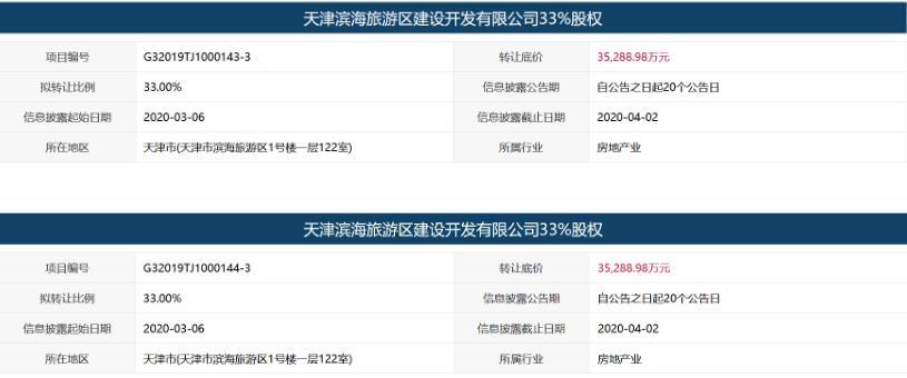 天津滨海旅游区建设开发7.06亿元转让66%股权