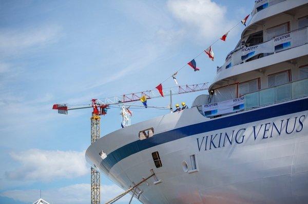 """维京游轮第七艘海轮""""维京金星号""""正式出坞下水"""