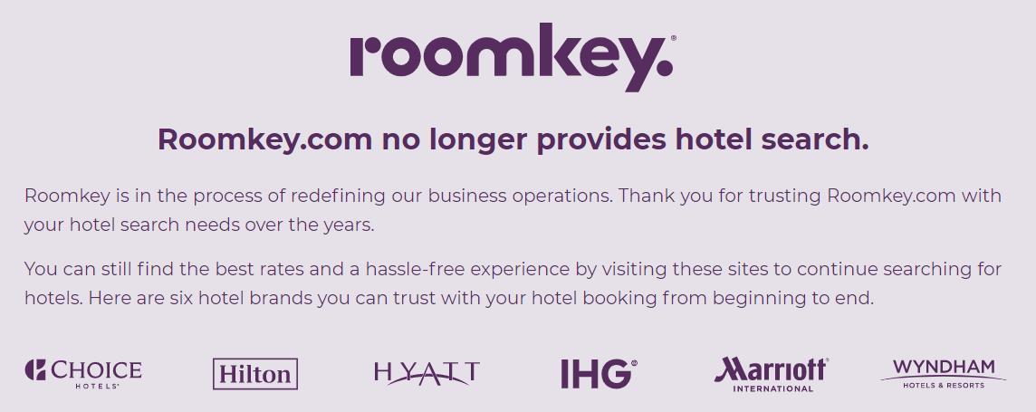 万豪洲际等打造的酒店搜索平台Roomkey关停