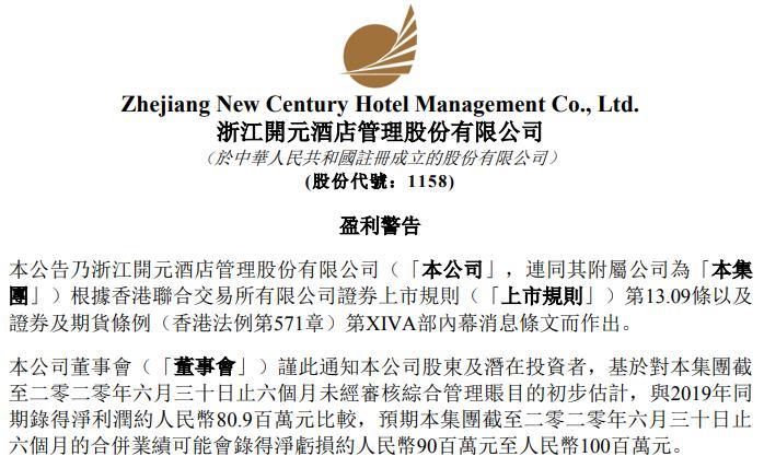 开元酒店:2020年上半年预期亏损至多1亿元
