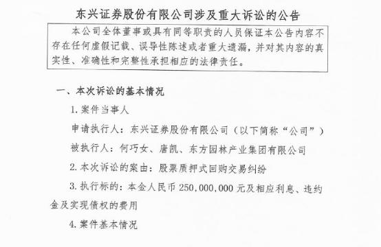 东方园林:控股股东何巧女遭强制执行2.5亿