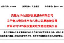 九华旅游:亿元拍得弘愿旅游100%股权
