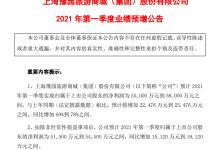 豫园股份:2021年Q1净利润同比预增69%到78%