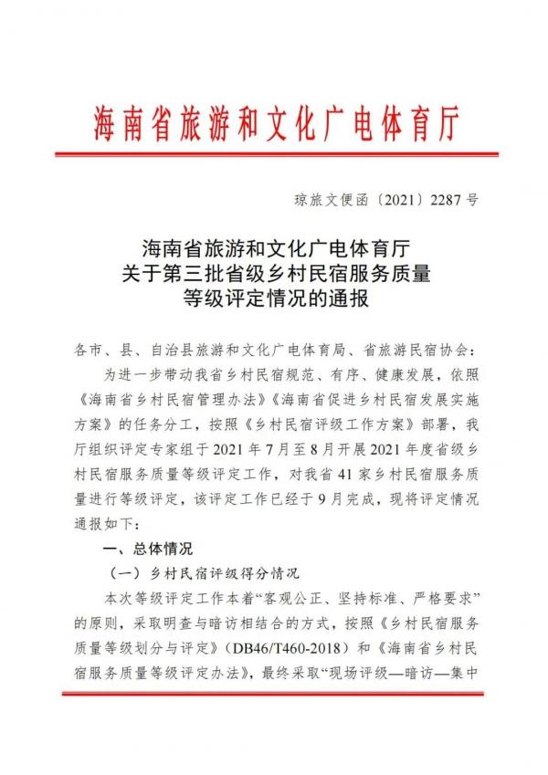 海南省:第三批乡村民宿等级评定情况通报
